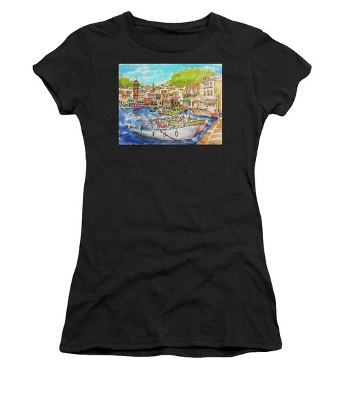 White Boat, Hydra Harbor Women's T-Shirt (Athletic Fit)