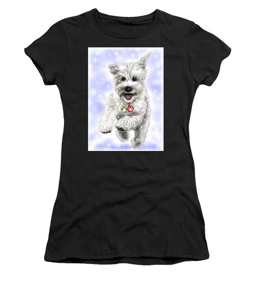 White Christmas Doggy Women's T-Shirt (Athletic Fit)
