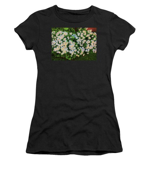 Women's T-Shirt (Athletic Fit) featuring the photograph White Daisy Bush by Roger Bester