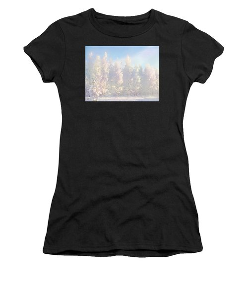 Women's T-Shirt featuring the digital art White Forest Morning by Shelli Fitzpatrick
