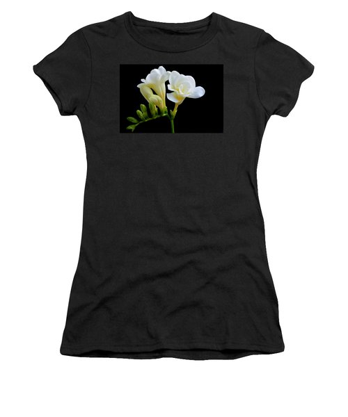 White Freesia Women's T-Shirt (Athletic Fit)
