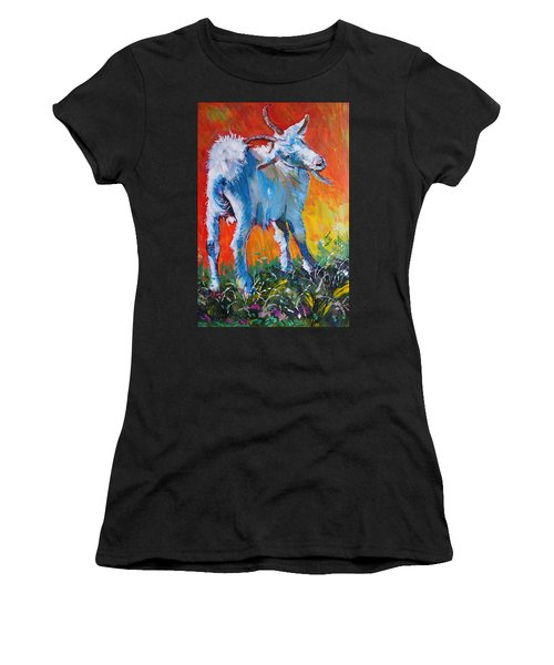 White Goat Painting - Scratching My Back Women's T-Shirt