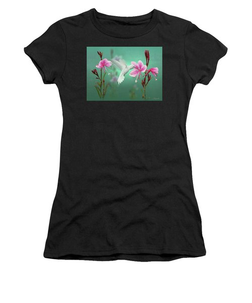 White Hummingbird And Pink Guara Women's T-Shirt (Athletic Fit)