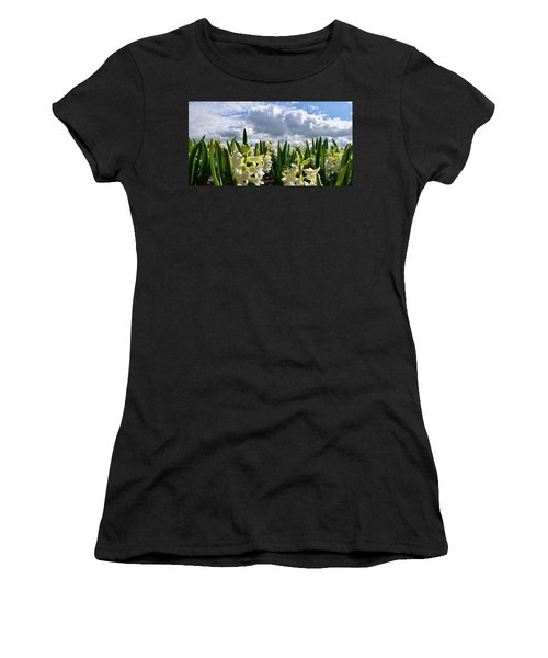 White Hyacinth Field Women's T-Shirt (Junior Cut) by Mihaela Pater
