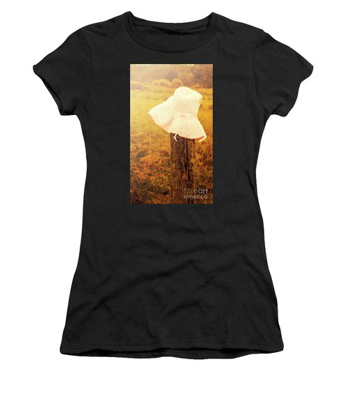 White Knitted Hat On Farm Fence Women's T-Shirt