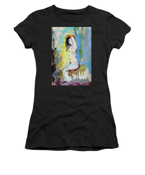 White Nude And Bird Women's T-Shirt (Athletic Fit)