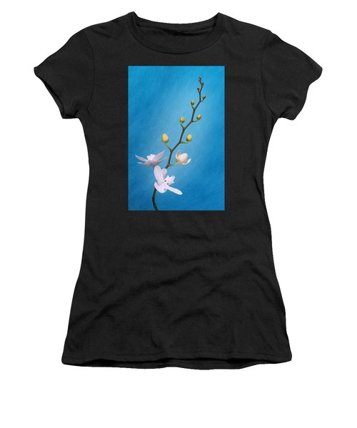 White Orchid Buds On Blue Women's T-Shirt
