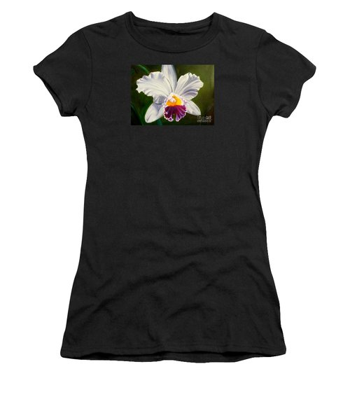Women's T-Shirt (Junior Cut) featuring the painting White Orchid by Jenny Lee