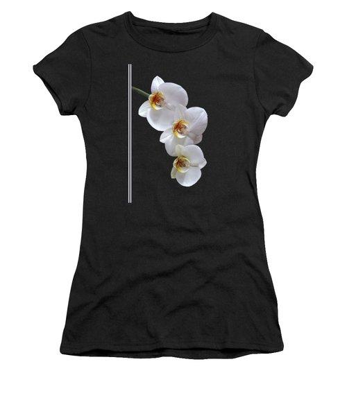 White Orchids On Black Vertical Women's T-Shirt (Junior Cut)