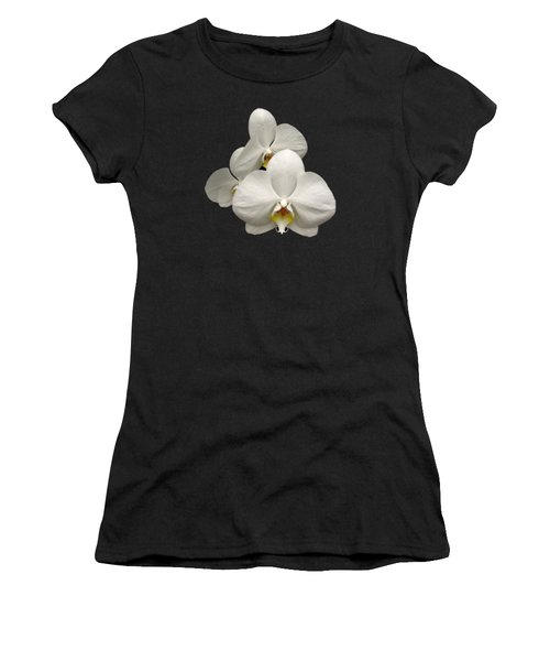 White Orchids Women's T-Shirt (Junior Cut) by Rose Santuci-Sofranko