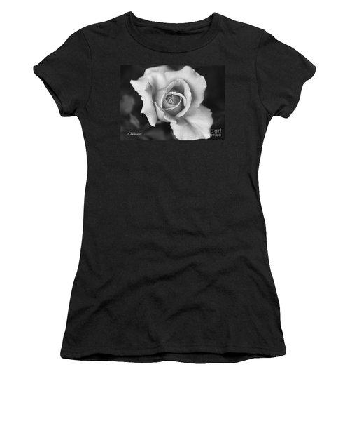 White Rose On Black Women's T-Shirt