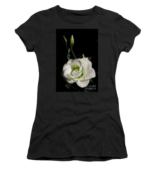 White Rose On Black Women's T-Shirt