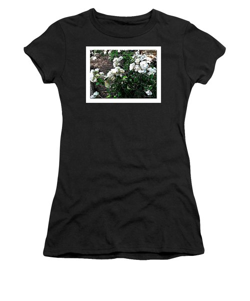 Women's T-Shirt (Junior Cut) featuring the photograph White Roses by Joan  Minchak