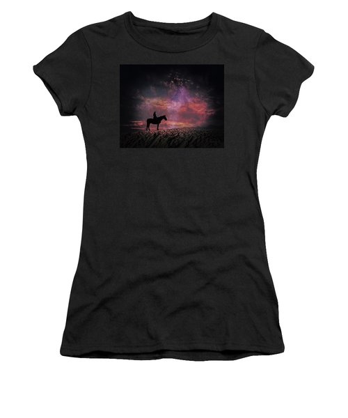 White Sands Horse And Rider #4c Women's T-Shirt (Athletic Fit)