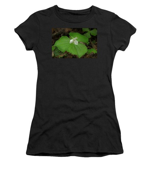 Women's T-Shirt (Junior Cut) featuring the photograph White Spring Trillium by Mike Eingle