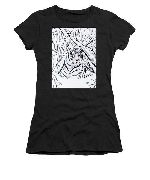 White Tiger Blending In Women's T-Shirt (Athletic Fit)