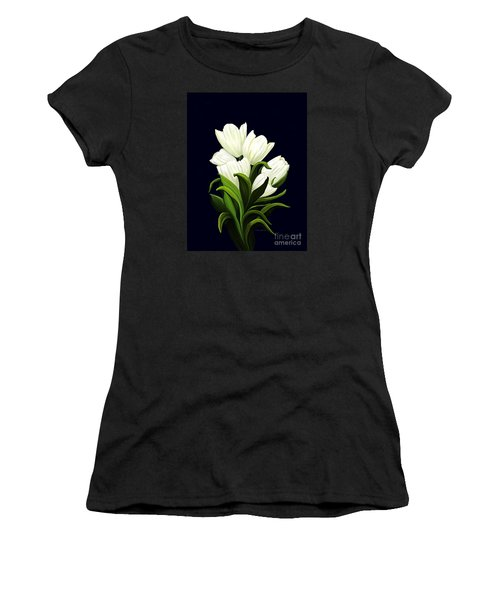 Women's T-Shirt (Junior Cut) featuring the painting White Tulips by Patricia Griffin Brett