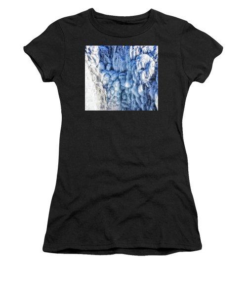 White Water And Blue Ice Gullfoss Waterfall Iceland Women's T-Shirt (Junior Cut) by Matthias Hauser