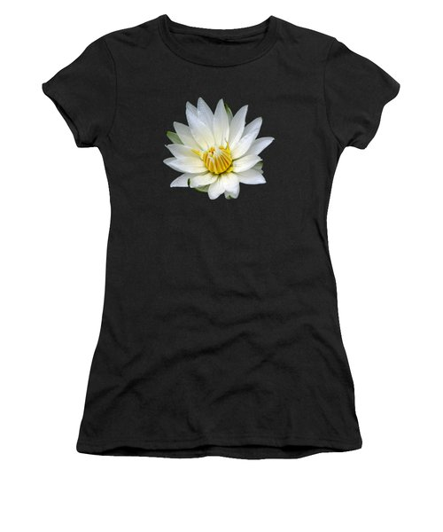 White Waterlily With Dewdrops Women's T-Shirt (Junior Cut) by Rose Santuci-Sofranko