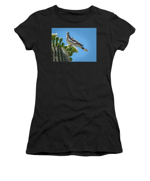 Women's T-Shirt featuring the photograph White Winged Dove On Cactus Flower by Penny Lisowski