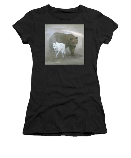 Women's T-Shirt featuring the painting White Wolf, Brown Bear by Steve Mitchell