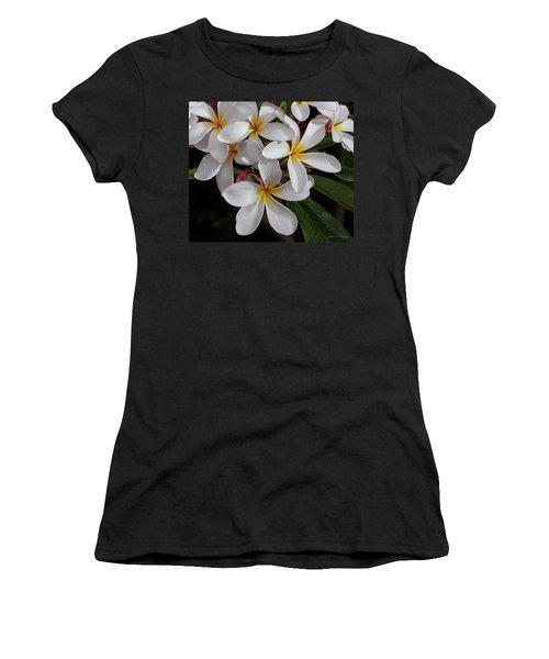 White/yellow Plumerias In Bloom Women's T-Shirt