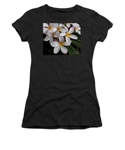 White/yellow Plumerias In Bloom Women's T-Shirt
