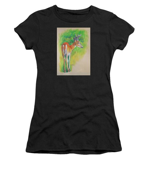 Whitetail Buck Mixed Media Women's T-Shirt (Athletic Fit)