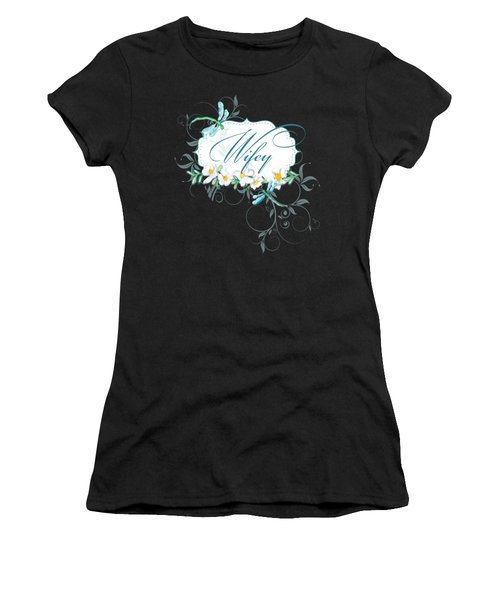 Wifey New Bride Dragonfly W Daisy Flowers N Swirls Women's T-Shirt (Athletic Fit)