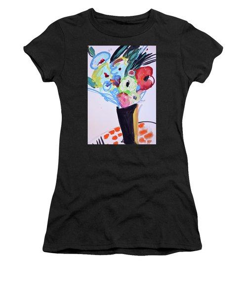 Wild Blue Flowers Women's T-Shirt (Junior Cut) by Amara Dacer