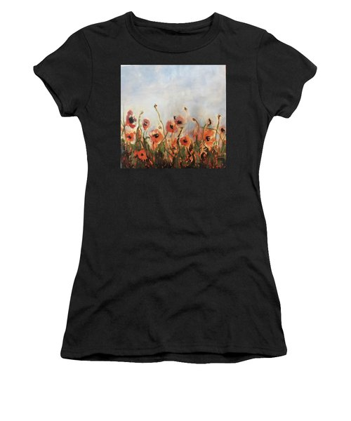 Wild Corn Poppies Underpainting Women's T-Shirt (Athletic Fit)