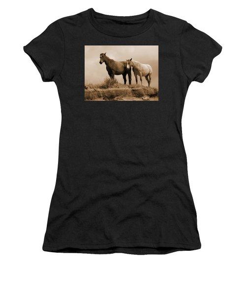 Women's T-Shirt featuring the photograph Wild Horses In Western Dakota by Cris Fulton