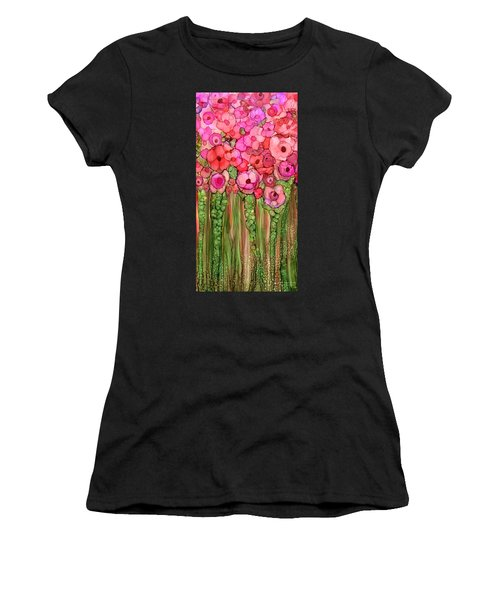 Women's T-Shirt featuring the mixed media Wild Poppy Garden - Pink by Carol Cavalaris