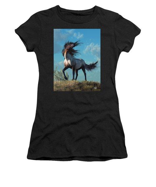Women's T-Shirt featuring the digital art Wild Roan by Daniel Eskridge