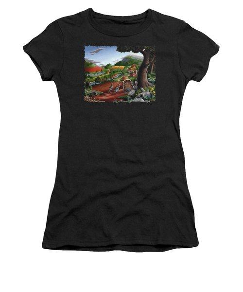 Wild Turkeys Appalachian Thanksgiving Landscape - Childhood Memories - Country Life - Americana Women's T-Shirt