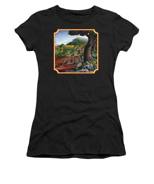 Wild Turkeys In The Hills Country Landscape - Square Format Women's T-Shirt