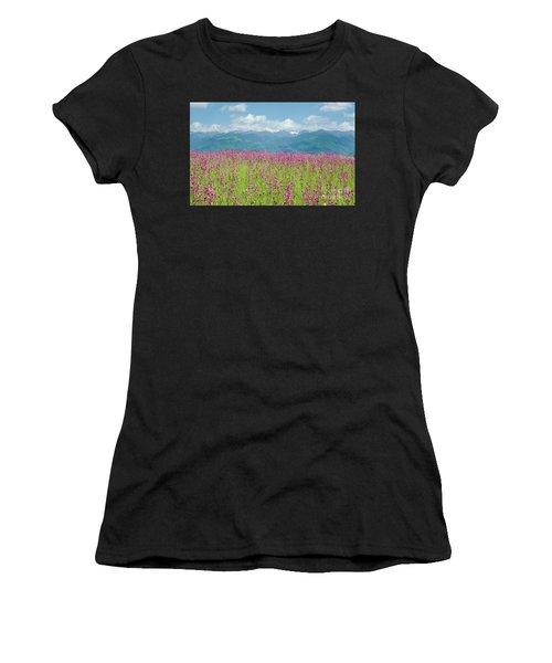 Wildflower Meadows And The Carpathian Mountains, Romania Women's T-Shirt