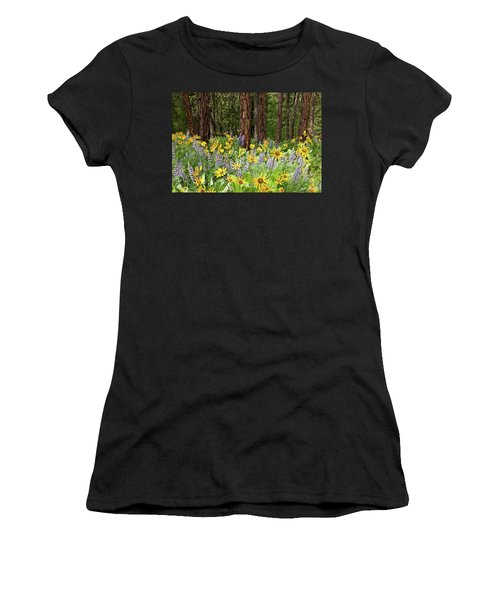 Balsamroot And Lupine In A Ponderosa Pine Forest Women's T-Shirt
