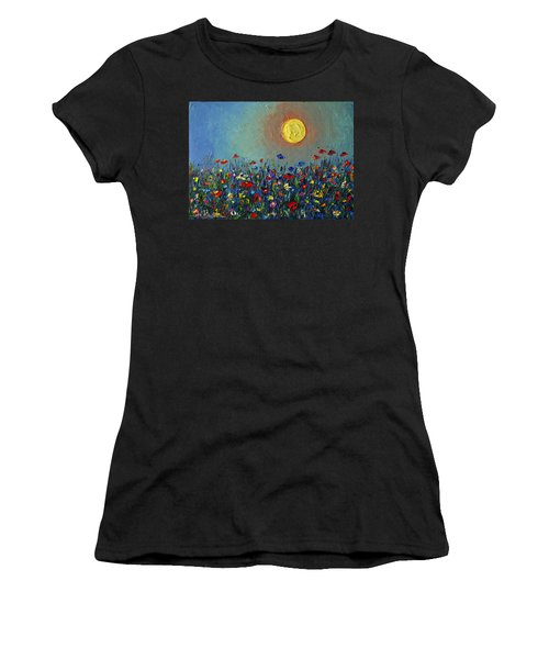 Wildflowers Meadow Sunrise Modern Floral Original Palette Knife Oil Painting By Ana Maria Edulescu Women's T-Shirt