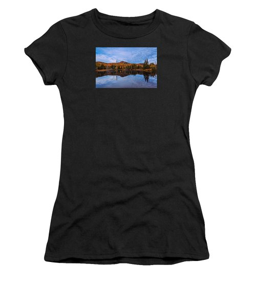 Women's T-Shirt featuring the photograph Wildlife Pond Autumn Reflection by Jeff Sinon