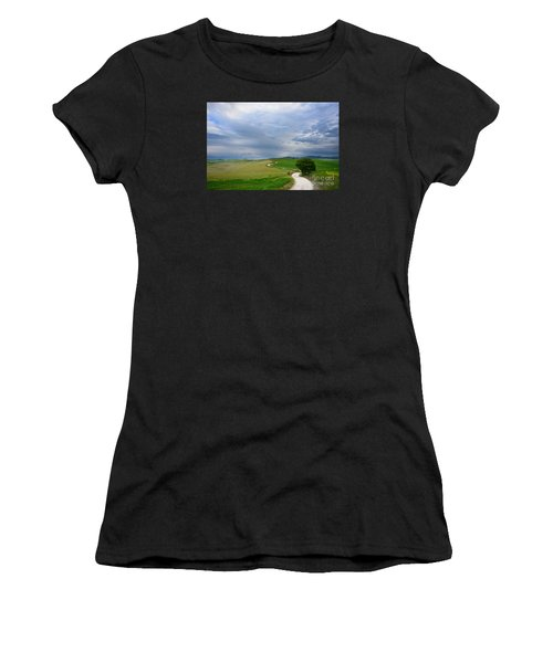Winding Road To A Destination In A Tuscany Landscape Women's T-Shirt (Athletic Fit)