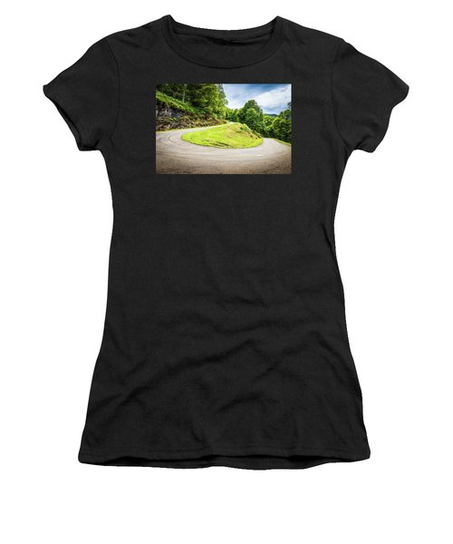 Winding Road With Sharp Curve Going Up The Mountain Women's T-Shirt (Junior Cut) by Semmick Photo