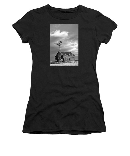 Windmill And Barn At Sunset Women's T-Shirt (Athletic Fit)