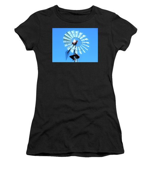Women's T-Shirt (Junior Cut) featuring the photograph Windmill - Bright Sunny Day by Ray Shrewsberry