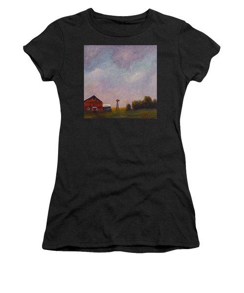 Windmill Farm Under A Stormy Sky. Women's T-Shirt