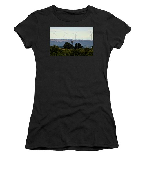 Women's T-Shirt (Athletic Fit) featuring the photograph Windmills Old And New by Sheila Brown