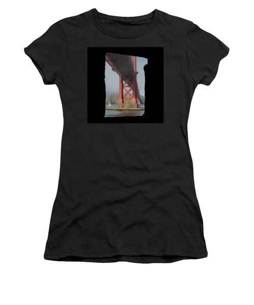 Women's T-Shirt featuring the photograph window to the Golden Gate Bridge by Stephen Holst