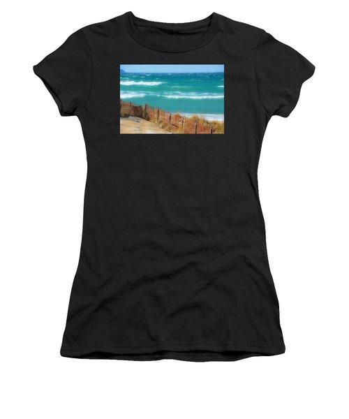 Windy Day On Lake Michigan Women's T-Shirt