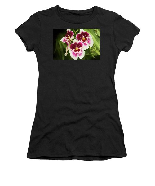 Women's T-Shirt featuring the photograph Wine Orchids- The Risen Lord by Penny Lisowski