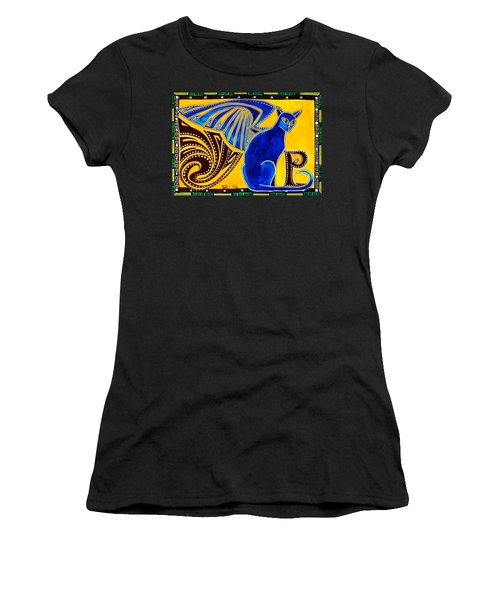 Women's T-Shirt (Junior Cut) featuring the painting Winged Feline - Cat Art With Letter P By Dora Hathazi Mendes by Dora Hathazi Mendes
